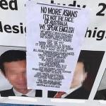 澳洲中国投资房地产在建项目广告牌被贴上种族歧视宣传单